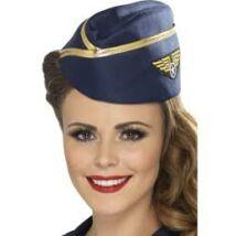 Kék légiutas-kísérő kalap arany szegéllyel.