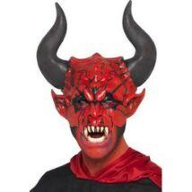 Piros Ördög Maszk Fekete Szarvakkal