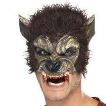 Barna szőrös farkasember maszk véres fogakkal