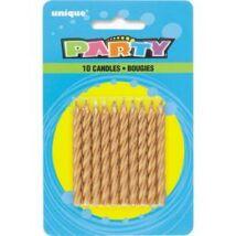 Arany Színű Születésnapi Party Gyertya - 10 db-os