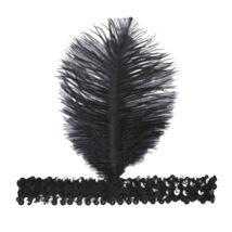Fekete flitteres 20-as évek fejpánt toll