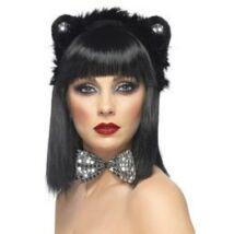 Fekete-ezüst cica jelmezkellék szett