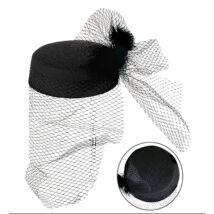 30-as évek kalap fekete tollal, hálóval