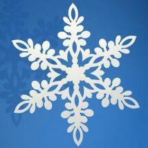 Fehér Hópehely Dekoráció Karácsonyra - 13 cm-es, 10 db-os
