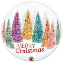 22 inch-es Színes Karácsonyfák - Christmas Trees & Snowflakes Karácsonyi Bubble Lufi