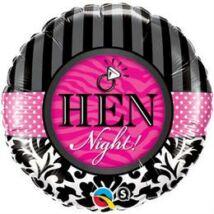 18 inch-es Hen Night! Damask & Stripes Fólia Léggömb Lánybúcsúra
