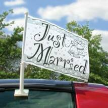 Just Married - Esküvői Autós Zászló