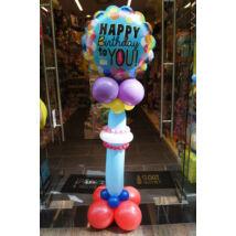Szülinapos oszlop HAPPY BIRTHDAY TO YOU feliratos lufival