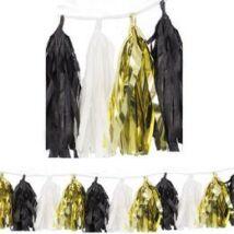 Arany-Fekete-Fehér Rojtos Bojtos Girland Dekorációs Függő Füzér