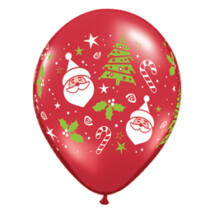 11 inch-es Santa és Christmas Tree Karácsonyi Ruby Red Léggömb