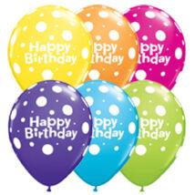 11 inch-es Birthday Big Polka Dots Asst. Szülinapi Lufi