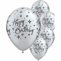11 inch-es Birthday Elegant Sparkles Silver Szülinapi Lufi