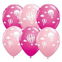 11 inch-es Hot Air Balloons - Léghajó Pink & Berry Lufi Babaszületésre