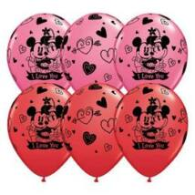 11 inch-es Mickey & Minnie I Love You Red & Rose Szerelmes Lufi
