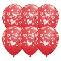 11 inch-es Patterned Hearts & Arrows Piros Szerelmes Lufi