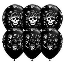 11 inch-es Pirate Skull & Cross Bones Onyx Black Lufi