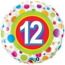18 inch-es 12-es Colorful Dots - Színes Pöttyös Szülinapi Számos Fólia Lufi