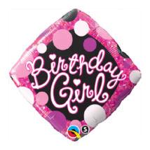 18 inch-es Birthday Girl Pink and Black Szülinapi Fólia Lufi