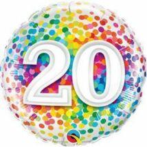 18 inch-es 20 Rainbow Confetti Szülinapi Fólia Lufi