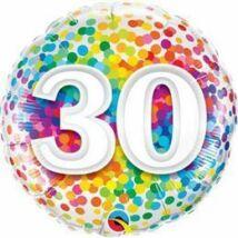 18 inch-es 30 Rainbow Confetti Szülinapi Fólia Lufi