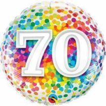 18 inch-es 70 Rainbow Confetti Szülinapi Fólia Lufi