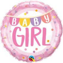 18 inch-es Baby Girl Banner & Dots Fólia Lufi Babaszületésre