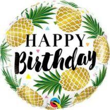 18 inch-es Birthday Golden Pineapples Fólia Lufi