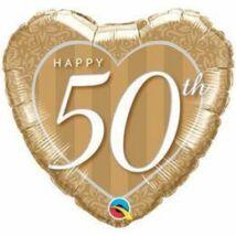 18 inch-es Happy 50th Damask Heart Fólia Lufi