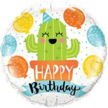 18 inch-es Vidám Kaktusz Happy Birthday Szülinapi Fólia Lufi