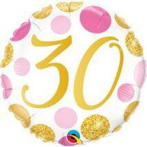 18 inch-es 30-as Pink & Gold Dots Szülinapi Számos Fólia Lufi