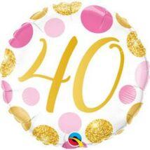 18 inch-es 40-es Pink & Gold Dots Szülinapi Számos Fólia Lufi
