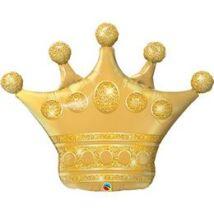 41 inch-es Golden Crown - Csillogó Arany Korona Fólia Lufi