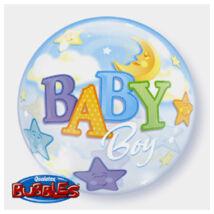 22 inch-es Baby Boy Moon és Stars Bubble Bébi Lufi Babaszületésre