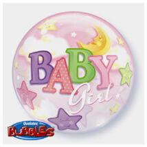 22 inch-es Baby Girl Moon és Stars Bubble Bébi Lufi Babaszületésre