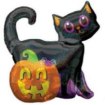 Black Cat & Pumpkin Holografikus Super Shape Fólia Lufi Halloween-ra