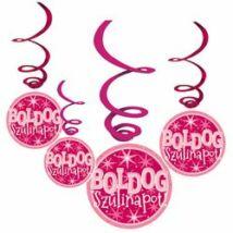Boldog Szülinapot! Rózsaszín Lányos Parti Függődekoráció - 6 db-os