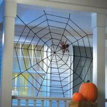 Halloween dekoráció.  Fekete pókháló dekoráció.  Mérete: 152 cm.