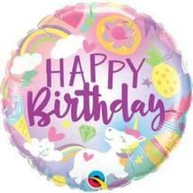 18 inch-es Egyszarvú Világa - Funtastical Fun Happy Birthday Szülinapi Fólia Lufi