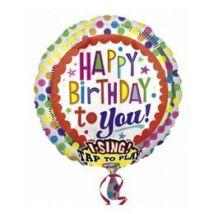 28 inch-es Happy Birthday Színes Éneklő Szülinapi Fólia Lufi