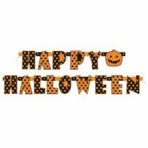 Happy Halloween Feliratú Pöttyös Parti Betűfüzér - 165 cm-es