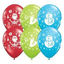Karácsony Latex Lufi 11 inch-es Snowman, Penguin and Santa Karácsonyi Lufi