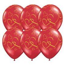 11 inch-es Romantic Heart - Arany Szíves Mintás Ruby Red Lufi