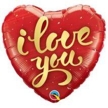 18 inch-es I Love You Gold Script Szív Fólia Lufi
