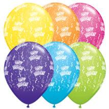 11 inch-es Birthday-A-Round Tropical Asst. Szülinapi Lufi