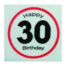 Happy Birthday 30. Számos Sebességkorlátozó Születésnapi Party Szalvéta - 33 x 33 cm, 20 db-os