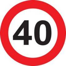 40-es Sebességkorlátozó Születésnapi Tábla - 40 cm