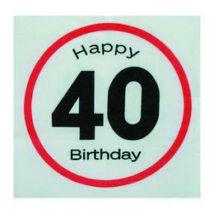 Happy Birthday 40. Számos Sebességkorlátozó Születésnapi Party Szalvéta - 33 x 33 cm, 20 db-os