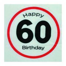 Happy Birthday 60. Számos Sebességkorlátozó Születésnapi Party Szalvéta - 33 x 33 cm, 20 db-os
