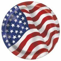 Amerikai Zászlós Party Tányér - 8 db-os, 21 cm
