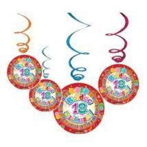 Boldog 18. Szülinapot Színes Party Spirális Függő Dekoráció - 6 db-os